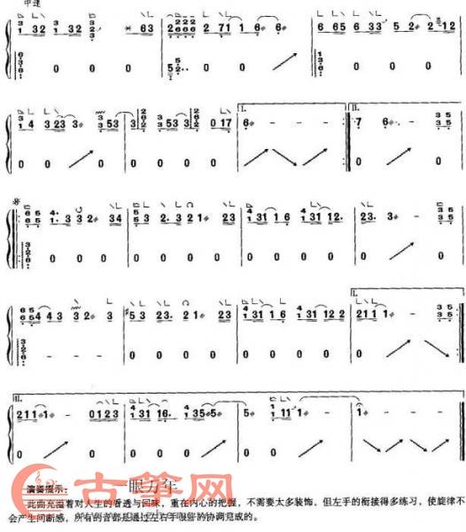 古筝曲谱 一眼万年